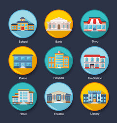 Set of modern colorful flat buildings icons vector image vector image