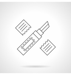 Stationery knife flat line icon vector image