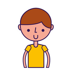 Upper body boy cartoon vector