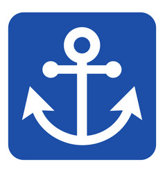 blue white information sign - anchor icon vector image vector image