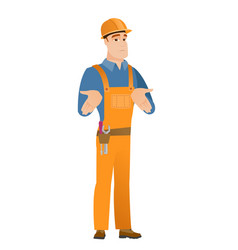 caucasian confused builder shrugging shoulders vector image