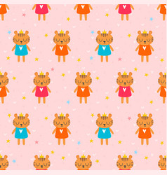 cute seamless pattern with little tigers children vector image vector image