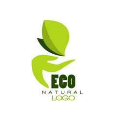 eco natural logo healthy organic food label vector image vector image