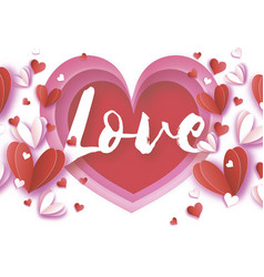 love text origami happy valentine s day greetings vector image vector image