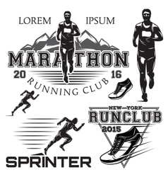 set black and white sports emblems for the sprint vector image