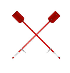 two crossed old oars in red design vector image