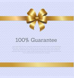 100 guarantee cover design golden bow poster vector