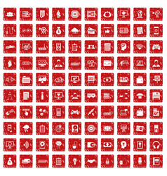100 it business icons set grunge red vector image