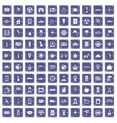 100 taxi icons set grunge sapphire vector image