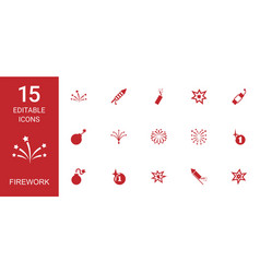 15 firework icons vector image