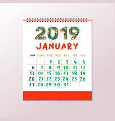 2019 desk calendar horizontal a4 white vector image