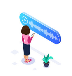 3d isometric voice message concept woman listens vector image