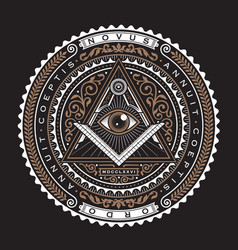 all seeing eye emblem badge logo 2 color vector image
