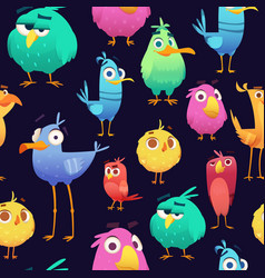 Angry birds pattern game parrots and exotic baby vector