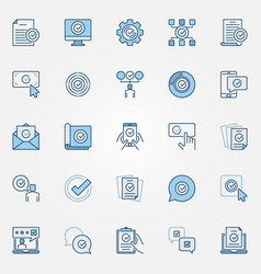 Approve blue icons set approved verified vector