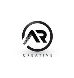 Ar brush letter logo design creative brushed vector