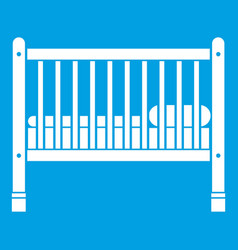 baby bed icon white vector image