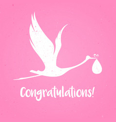 baby shower frame stork carrying a cute baby girl vector image