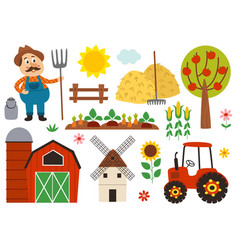 basic rgbset isolated farm elements vector image