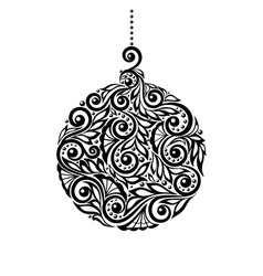 Black and White Christmas ball with a floral desig vector image