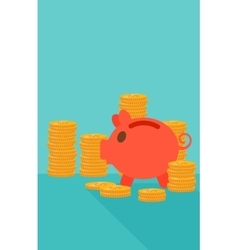 Blue background of piggy bank and golden coins vector image