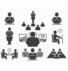 Business people office icons conference vector