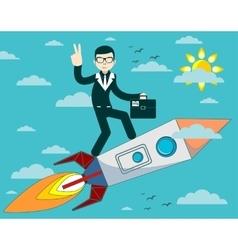 businessman flying on a rocket in blue sky vector image