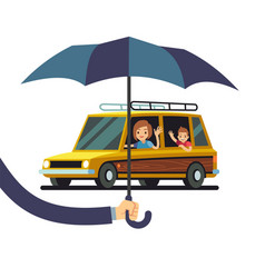 car insurance concept with hand holding vector image