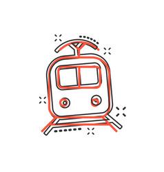 cartoon train transportation icon in comic style vector image