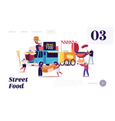characters buying street food landing page vector image
