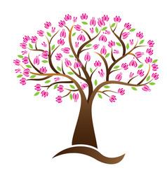 cherry blossom tree logo image vector image