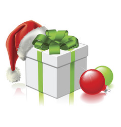 Christmas gift with santa hat and baubles vector