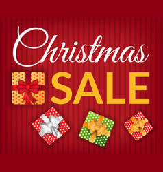 christmas sale promo poster with presents set vector image