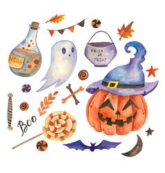 Collection halloween symbols vector