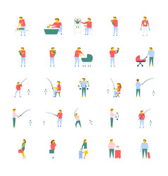 Collection of people flat icons vector