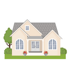 colorful cottage house icon in flat style vector image