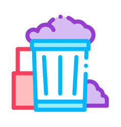 container with rubbish trash thin line icon vector image