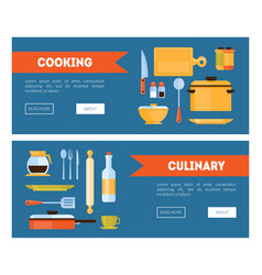 cooking and culinary horizontal banners set with vector image