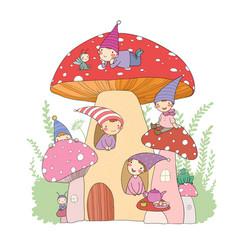 Cute cartoon gnomes mushroom house and frog vector