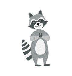 Cute Raccoon Character Standing And Smiling vector image