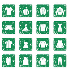 different clothes icons set grunge vector image