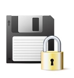 diskette and lock vector image