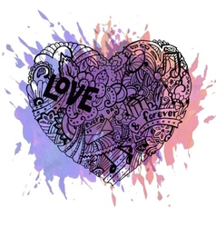 Doodle colorful heart with paint splashes vector image