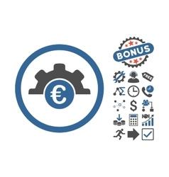 Euro Technology Flat Icon With Bonus vector image