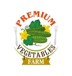 Farm fresh cucumbers Healthy vegetables emblem vector