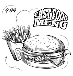 fast food menu with hand drawn hamburger and vector image