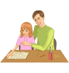 Father helps daughter to read a book vector