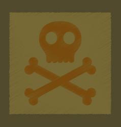 flat shading style icon halloween skull bones vector image