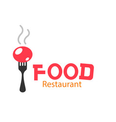 food restaurant logo fork background image vector image