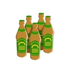 Four bottles of staut beer with green label vector